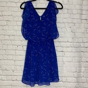 Candies Blue Butterfly Print Dress Size Medium